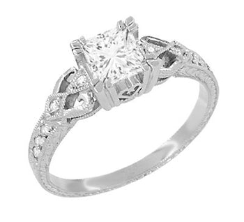 Loving Hearts 1 Carat Princess Cut Diamond Antique Style Engraved Art Deco Engagement Ring in 18K White Gold