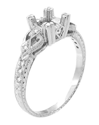 Loving Hearts 1/2 Carat Diamond Engraved Vintage Style Engagement Ring Setting in 18 Karat White Gold | 5.0mm Round or 4.5mm Square Princess Mounting - Item: R459W50 - Image: 2