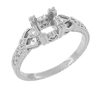 Loving Hearts 1/2 Carat Diamond Engraved Antique Style Engagement Ring Setting in 18 Karat White Gold | 5.0mm Round or 4.5mm Square Princess Mounting