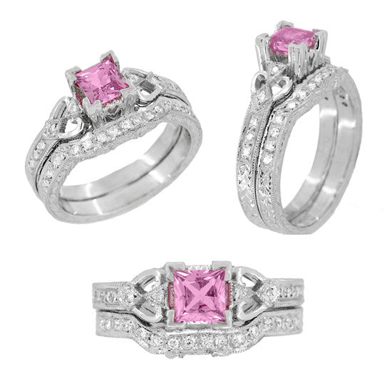 Loving Hearts Art Deco Antique Style Engraved Princess Cut Pink Sapphire Engagement Ring in 18 Karat White Gold - Item: R459WPS - Image: 4