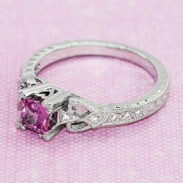 Loving Hearts Art Deco Antique Style Engraved Princess Cut Pink Sapphire Engagement Ring in 18 Karat White Gold - Item: R459WPS - Image: 6