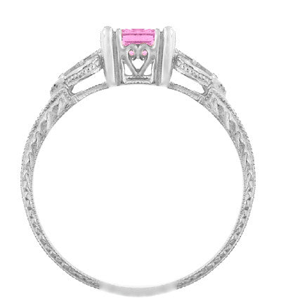 Loving Hearts Art Deco Antique Style Engraved Princess Cut Pink Sapphire Engagement Ring in 18 Karat White Gold - Item: R459WPS - Image: 1