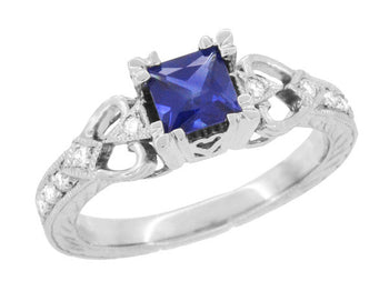 Vintage Inspired Loving Hearts Square Princess Cut Blue Sapphire Carved Art Deco Engagement Ring in 18 Karat White Gold