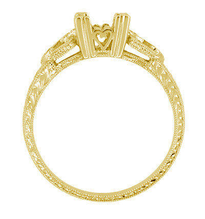 Loving Hearts Art Deco Engraved Antique Style Engagement Ring Setting for a 1 Carat Princess Cut or Round Diamond in 18 Karat Yellow Gold - Item: R459Y1 - Image: 2