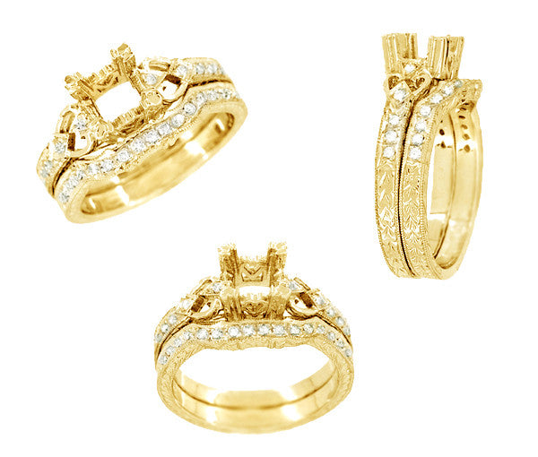 Loving Hearts Art Deco Engraved Antique Style Engagement Ring Setting for a 1 Carat Princess Cut or Round Diamond in 18 Karat Yellow Gold - Item: R459Y1 - Image: 3