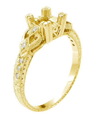 Yellow Gold Vintage Fishtail Ring Setting with Hearts on Sides and Hand Engraved Wheat Band with Side Diamonds for a 1/2 Ct Square Princess or Round Diamond- R459Y50