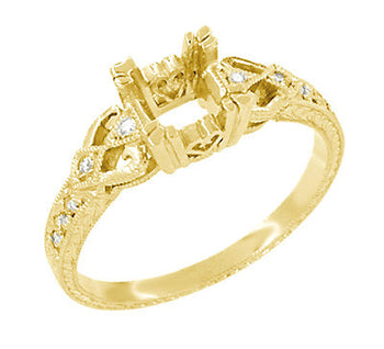 Filigree Engraved Loving Hearts Antique Style Engagement Ring Setting for a 1/2 Carat Square or Round Diamond in 18 Karat Yellow Gold