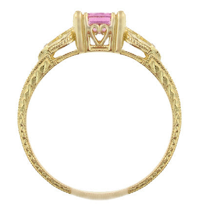 Art Deco Loving Hearts Antique Style Princess Cut Pink Sapphire Engraved Engagement Ring in 18 Karat Yellow Gold - Item: R459YPS - Image: 3
