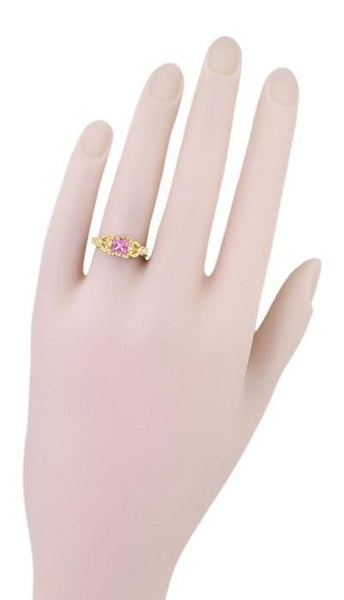 Art Deco Loving Hearts Antique Style Princess Cut Pink Sapphire Engraved Engagement Ring in 18 Karat Yellow Gold - Item: R459YPS - Image: 4