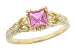 Art Deco Loving Hearts Antique Style Princess Cut Pink Sapphire Engraved Engagement Ring in 18 Karat Yellow Gold