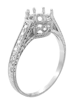 Royal Crown 3/4 Carat Antique Style Engraved Engagement Ring Setting in 18 Karat White Gold - 6mm