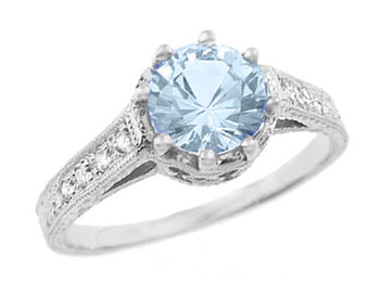 Royal Crown 1 Carat Aquamarine Antique Style Engraved Engagement Ring in 18 Karat White Gold