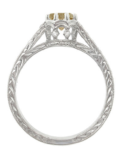 Art Deco Crown 1 Carat Champagne Diamond Engagement Ring in 18 Karat White Gold - Item: R460CD - Image: 3