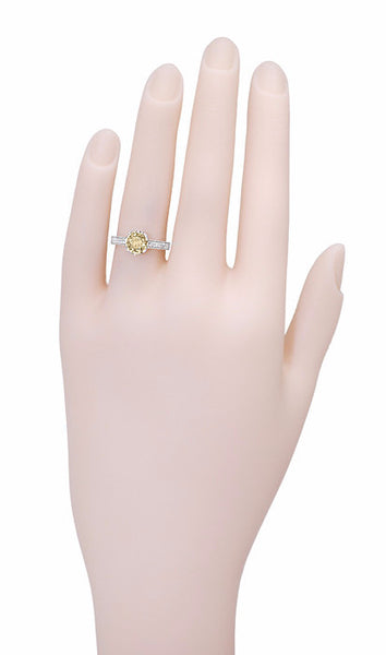 Art Deco Crown 1 Carat Champagne Diamond Engagement Ring in 18 Karat White Gold - Item: R460CD - Image: 4