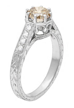 Art Deco Crown 1 Carat Caramel Diamond Engagement Ring in 18 Karat White Gold