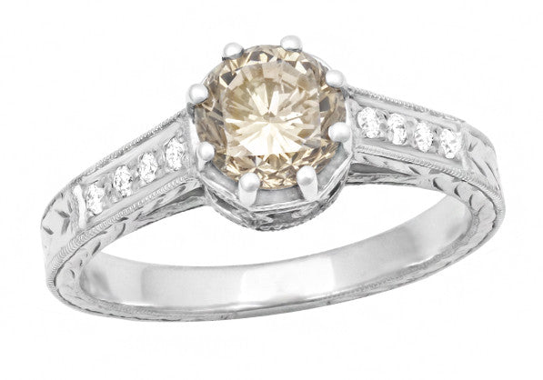 Art Deco Crown 1 Carat Champagne Diamond Engagement Ring in 18 Karat White Gold