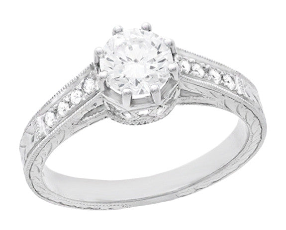 Royal Crown 1/2 Carat Antique Style Engraved Engagement Ring in 18 Karat White Gold - Item: R460D - Image: 1