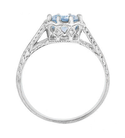 Royal Crown 1 Carat Aquamarine Antique Style Engraved Engagement Ring in Platinum - Item: R460PA - Image: 3