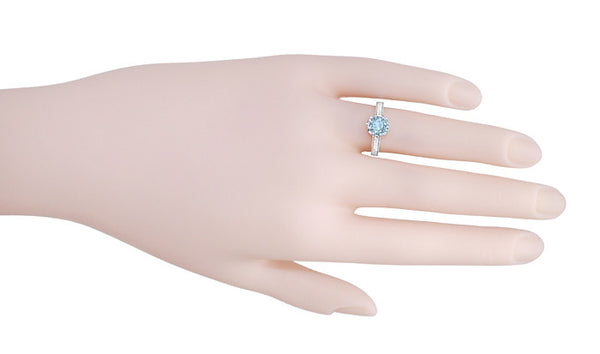Royal Crown 1 Carat Aquamarine Antique Style Engraved Engagement Ring in Platinum - Item: R460PA - Image: 4