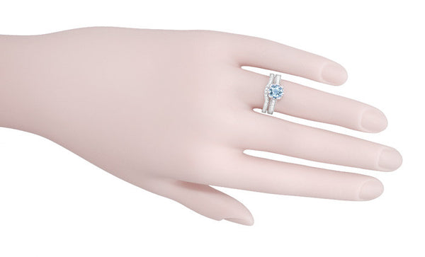 Royal Crown 1 Carat Aquamarine Antique Style Engraved Engagement Ring in Platinum - Item: R460PA - Image: 5