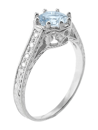 Royal Crown 1 Carat Aquamarine Antique Style Engraved Engagement Ring in Platinum - Item: R460PA - Image: 1