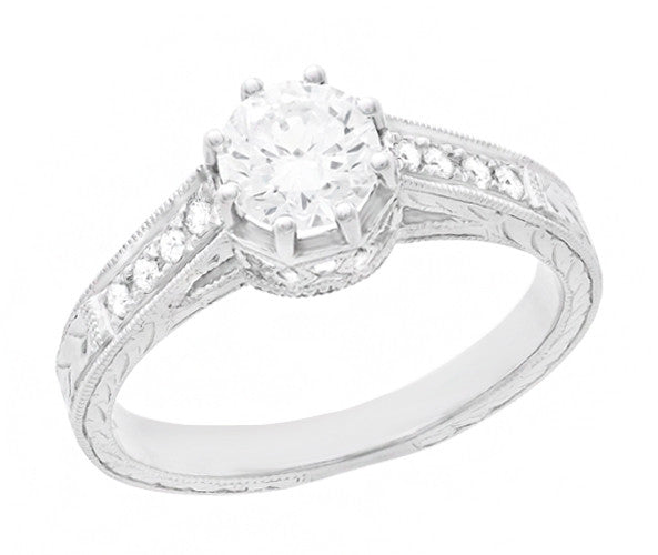 Royal Crown 1/2 Carat Antique Style Engraved Engagement Ring in Platinum - Item: R460PD - Image: 1
