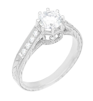 Royal Crown 1/2 Carat Antique Style Engraved Engagement Ring in Platinum