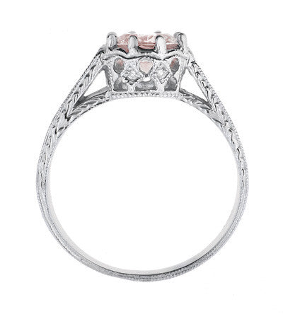 Art Deco Royal Crown Antique Style 1 Carat Morganite Engraved Engagement Ring in Platinum - Item: R460PM - Image: 3