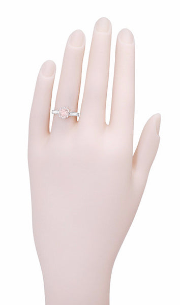 Art Deco Royal Crown Antique Style 1 Carat Morganite Engraved Engagement Ring in Platinum - Item: R460PM - Image: 4