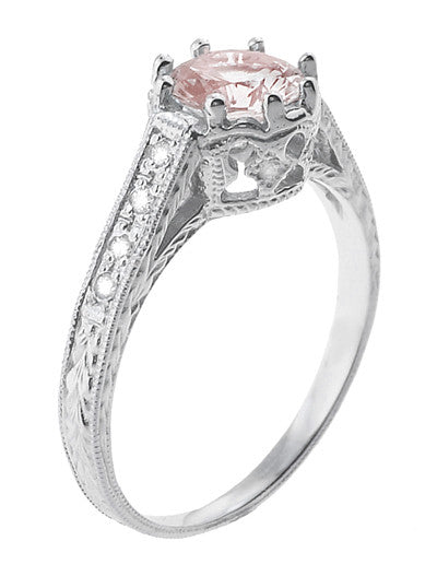 Art Deco Royal Crown Antique Style 1 Carat Morganite Engraved Engagement Ring in Platinum - Item: R460PM - Image: 1