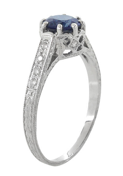 Art Deco Royal Crown 1 Carat Blue Sapphire Engraved Engagement Ring in Platinum - Item: R460PS - Image: 2