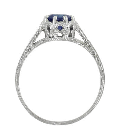 Art Deco Royal Crown 1 Carat Blue Sapphire Engraved Engagement Ring in Platinum - Item: R460PS - Image: 4