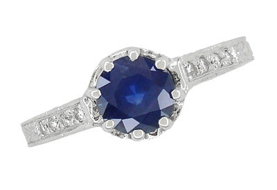 Art Deco Royal Crown 1 Carat Blue Sapphire Engraved Engagement Ring in Platinum - Item: R460PS - Image: 1