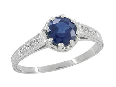 Art Deco Royal Crown 1 Carat Sapphire Engraved Engagement Ring in 18 Karat White Gold
