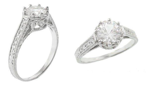Royal Crown 1 Carat Antique Style Engraved 18 Karat White Gold Engagement Ring Setting - Item: R460W1 - Image: 2