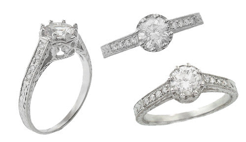 Royal Crown 1/2 Carat Antique Style Engraved Engagement Ring Setting in 14K or 18K White Gold | 5.5mm Round Ring Mount - Item: R460W14K50 - Image: 2
