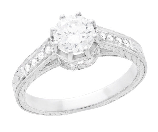 Art Deco 3/4 Carat Antique Style Engraved Crown Engagement Ring in 18 Karat White Gold - Item: R460W75D - Image: 2