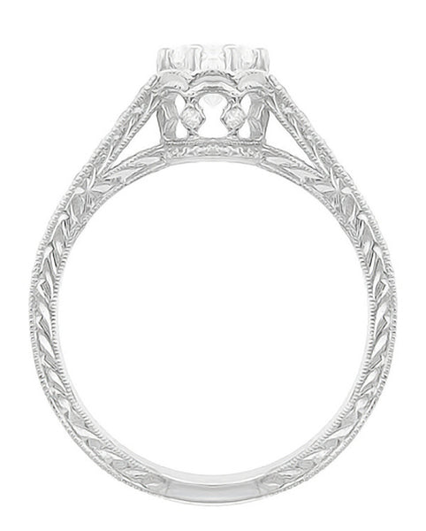 Art Deco 3/4 Carat Antique Style Engraved Crown Engagement Ring in 18 Karat White Gold - Item: R460W75D - Image: 3