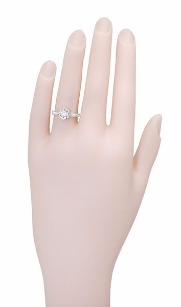 Art Deco 3/4 Carat Antique Style Engraved Crown Engagement Ring in 18 Karat White Gold - Item: R460W75D - Image: 6