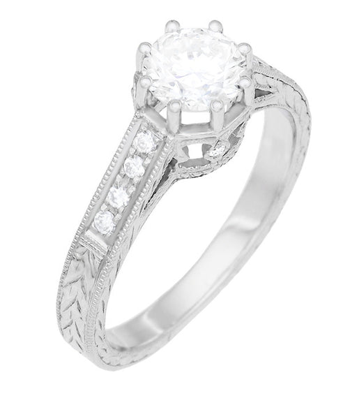 Art Deco 3/4 Carat Antique Style Engraved Crown Engagement Ring in 18 Karat White Gold - Item: R460W75D - Image: 1