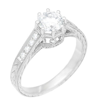 Art Deco 3/4 Carat Antique Style Engraved Crown Engagement Ring in 18 Karat White Gold