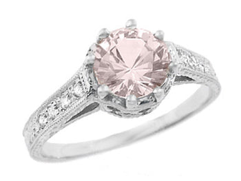 Art Deco Royal Crown Antique Style 1 Carat Morganite Engraved Engagement Ring in 18 Karat White Gold
