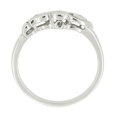 Retro Moderne Diamond Set Filigree Hearts Wedding Ring in 14 Karat White Gold - Item: R462 - Image: 1