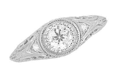 Art Deco Engraved Filigree Diamond Low Profile Engagement Ring in 14 Karat White Gold - Item: R464 - Image: 3