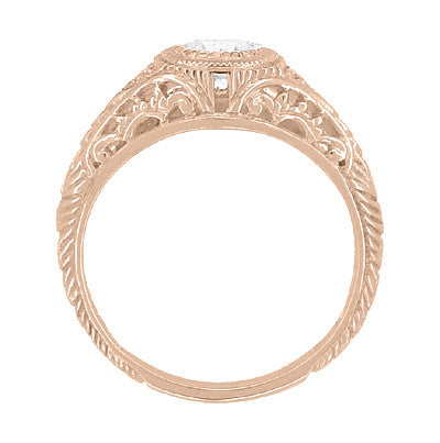 Art Deco Engraved Filigree Diamond Engagement Ring in 14 Karat Rose ( Pink ) Gold - Item: R464R - Image: 2