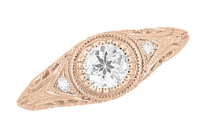 Art Deco Engraved Filigree Diamond Engagement Ring in 14 Karat Rose ( Pink ) Gold - Item: R464R - Image: 3