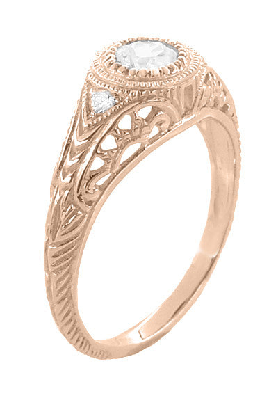 Art Deco Engraved Filigree Diamond Engagement Ring in 14 Karat Rose ( Pink ) Gold - Item: R464R - Image: 1