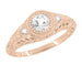 Art Deco Engraved Filigree Diamond Engagement Ring in 14 Karat Rose ( Pink ) Gold