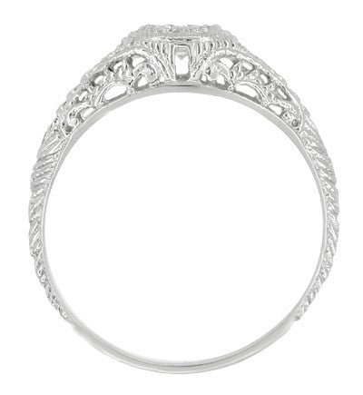 Art Deco Engraved Filigree Diamond Engagement Ring with Side Sapphires in 14 Karat White Gold - Item: R464S - Image: 1