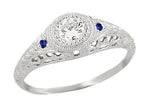 Art Deco Engraved Filigree Diamond Engagement Ring with Side Sapphires in 14 Karat White Gold